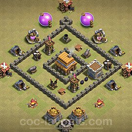 TH4 War Base Plan with Link, Copy Town Hall 4 Design 2020, #7