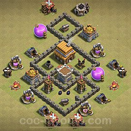 TH4 War Base Plan with Link, Copy Town Hall 4 Design 2020, #8