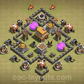 TH4 Anti 2 Stars War Base Plan with Link, Copy Town Hall 4 Design 2020, #9