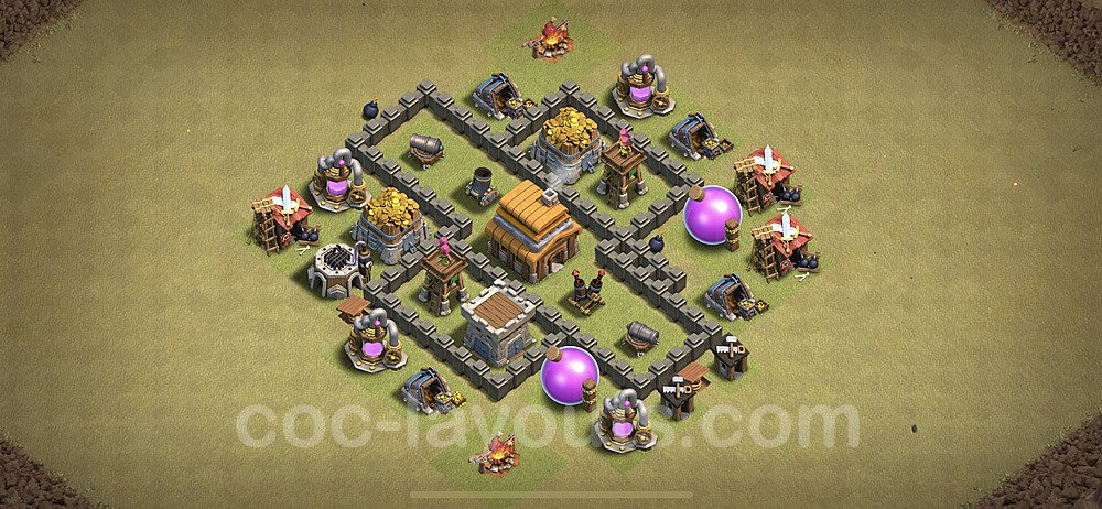 TH4 Anti 3 Stars CWL War Base Plan with Link, Copy Town Hall 4 Design 2021, #16