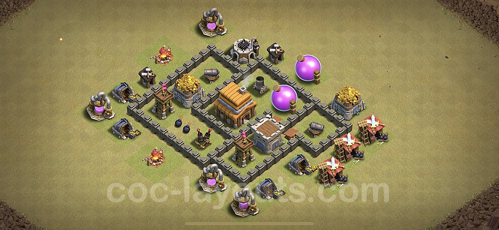 TH4 Anti 2 Stars CWL War Base Plan with Link, Copy Town Hall 4 Design 2021, #17