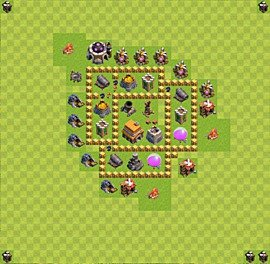 Base plan Town Hall level 5 for trophies (defence) (variant 1)