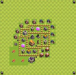 Base plan Town Hall level 5 for trophies (defence) (variant 10)