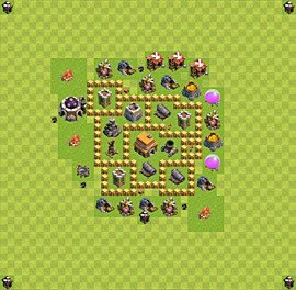 Base plan Town Hall level 5 for trophies (defence) (variant 11)