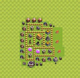 Base plan Town Hall level 5 for trophies (defence) (variant 12)