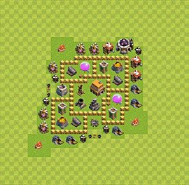 Base plan Town Hall level 5 for trophies (defence) (variant 13)