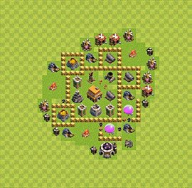Base plan Town Hall level 5 for trophies (defence) (variant 14)