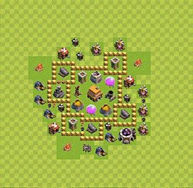Base plan Town Hall level 5 for trophies (defence) (variant 15)