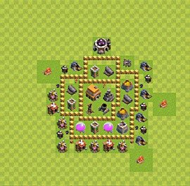 Base plan Town Hall level 5 for trophies (defence) (variant 16)