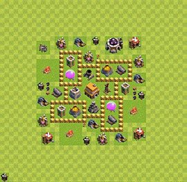 Base plan Town Hall level 5 for trophies (defence) (variant 18)