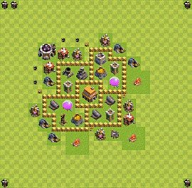 Base plan Town Hall level 5 for trophies (defence) (variant 19)