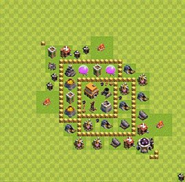 Base plan Town Hall level 5 for trophies (defence) (variant 2)
