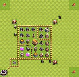 Base plan Town Hall level 5 for trophies (defence) (variant 20)