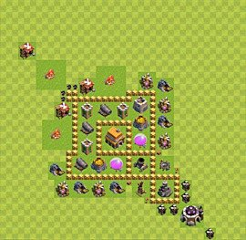 Base plan Town Hall level 5 for trophies (defence) (variant 21)