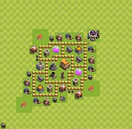 Base plan Town Hall level 5 for trophies (defence) (variant 22)
