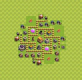 Base plan Town Hall level 5 for trophies (defence) (variant 23)