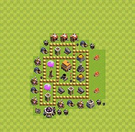 Base plan Town Hall level 5 for trophies (defence) (variant 25)