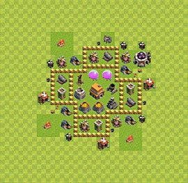 Base plan Town Hall level 5 for trophies (defence) (variant 26)