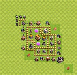 Base plan Town Hall level 5 for trophies (defence) (variant 27)