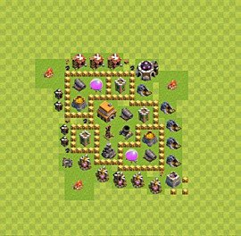 Base plan Town Hall level 5 for trophies (defence) (variant 28)