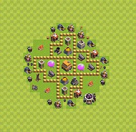 Base plan Town Hall level 5 for trophies (defence) (variant 29)