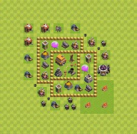 Base plan Town Hall level 5 for trophies (defence) (variant 3)