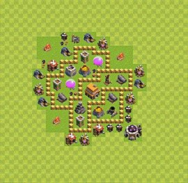 Base plan Town Hall level 5 for trophies (defence) (variant 30)