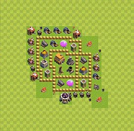 Base plan Town Hall level 5 for trophies (defence) (variant 31)
