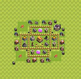 Base plan Town Hall level 5 for trophies (defence) (variant 32)
