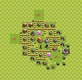 Base plan Town Hall level 5 for trophies (defence) (variant 33)