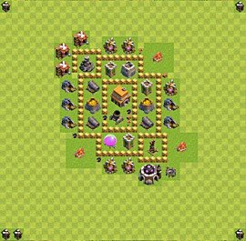 TH5 Trophy Base Plan, Town Hall 5 Base Design, #35