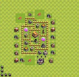 TH5 Trophy Base Plan, Town Hall 5 Base Design, #38