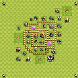 Base plan Town Hall level 5 for trophies (defence) (variant 39)