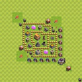 Base plan Town Hall level 5 for trophies (defence) (variant 40)