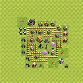 Base plan Town Hall level 5 for trophies (defence) (variant 41)