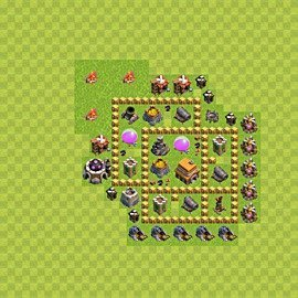 Base plan Town Hall level 5 for trophies (defence) (variant 42)