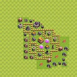 Base plan Town Hall level 5 for trophies (defence) (variant 44)