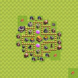 Base plan Town Hall level 5 for trophies (defence) (variant 47)