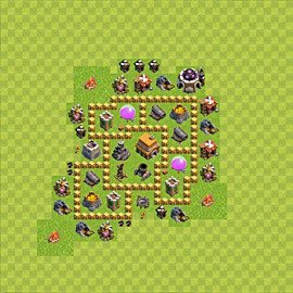 Base plan Town Hall level 5 for trophies (defence) (variant 48)
