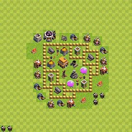 Base plan Town Hall level 5 for trophies (defence) (variant 49)