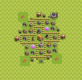 Base plan Town Hall level 5 for trophies (defence) (variant 5)