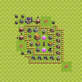 Base plan Town Hall level 5 for trophies (defence) (variant 52)