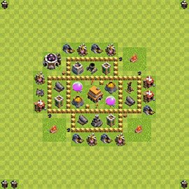 Base plan Town Hall level 5 for trophies (defence) (variant 53)