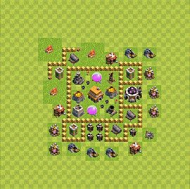 Base plan Town Hall level 5 for trophies (defence) (variant 54)