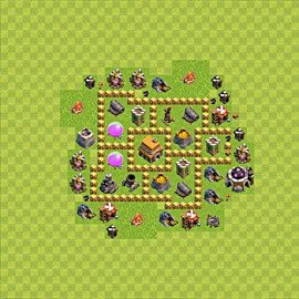 Base plan Town Hall level 5 for trophies (defence) (variant 56)