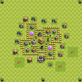 Base plan Town Hall level 5 for trophies (defence) (variant 57)