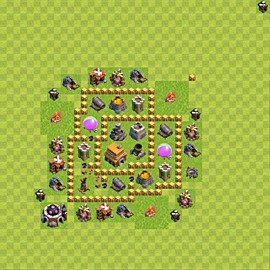 Base plan Town Hall level 5 for trophies (defence) (variant 58)