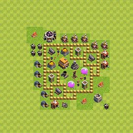 Base plan Town Hall level 5 for trophies (defence) (variant 59)