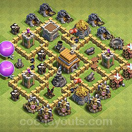 TH5 Anti 3 Stars Base Plan with Link, Copy Town Hall 5 Base Design 2020, #61