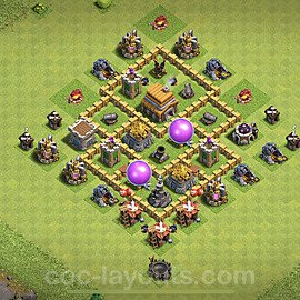 Top TH5 Unbeatable Anti Loot Base Plan with Link, Copy Town Hall 5 Base Design 2020, #63